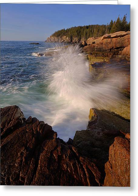Greeting Card featuring the photograph Crashing Waves by Stephen  Vecchiotti