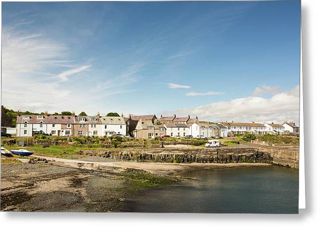 Craster Village And Harbour Greeting Card