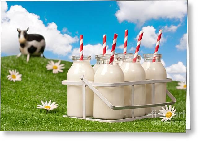 Crate Of Milk Bottles Greeting Card by Amanda Elwell