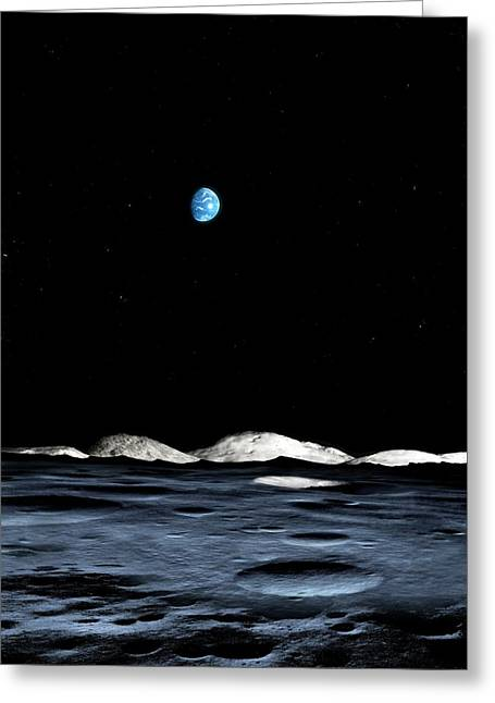 Crater At The Lunar South Pole Greeting Card by Mark Garlick