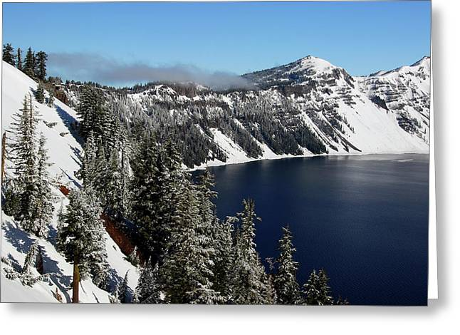 Crater Lake After Snow, Crater Lake Greeting Card