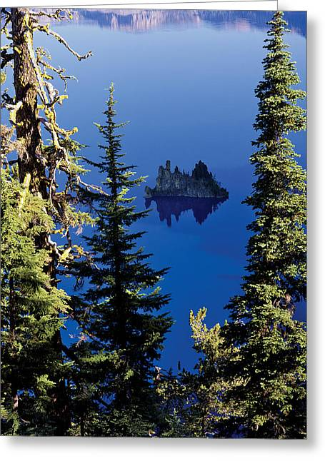 Crater Lake At Crater Lake National Greeting Card by Panoramic Images