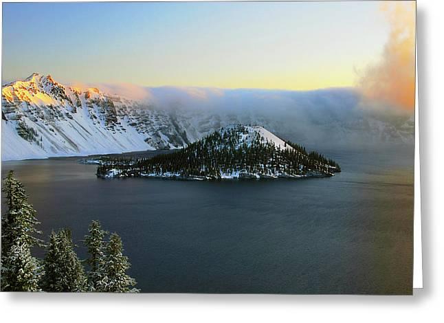 Crater Lake At Dawn, Crater Lake Greeting Card