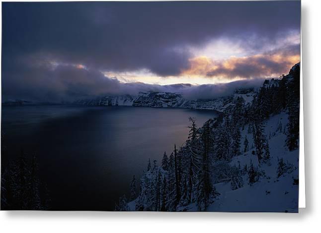 Crater Lake At Sunrise, South Rim Greeting Card by Panoramic Images