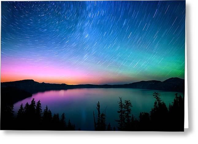 Crater Lake Aurora  Greeting Card