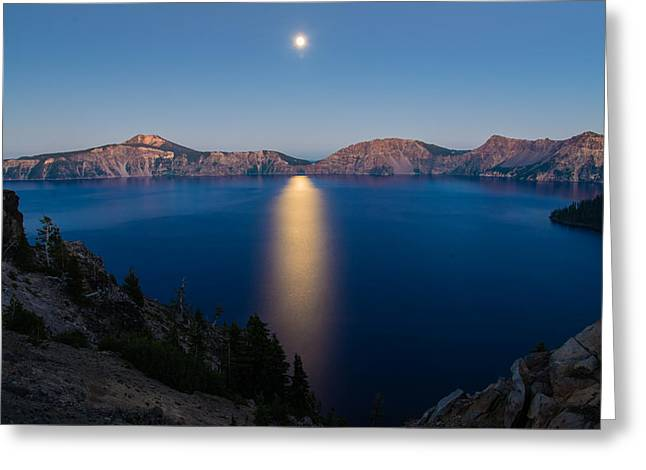 Crater Lake Moonrise Greeting Card