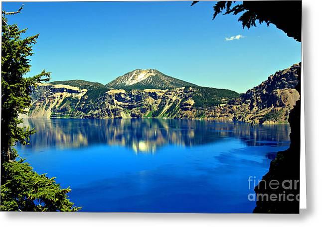 Crater Lake Oregon Greeting Card by Leslie Kirk