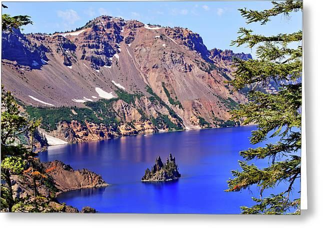 Crater Lake Reflection, Phantom Ship Greeting Card