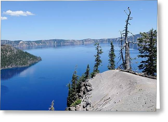 Crater Lake Scenic Panorama Greeting Card by John Kelly