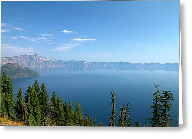 Crater Lake Shrouded In Smoke Greeting Card by David R. Frazier