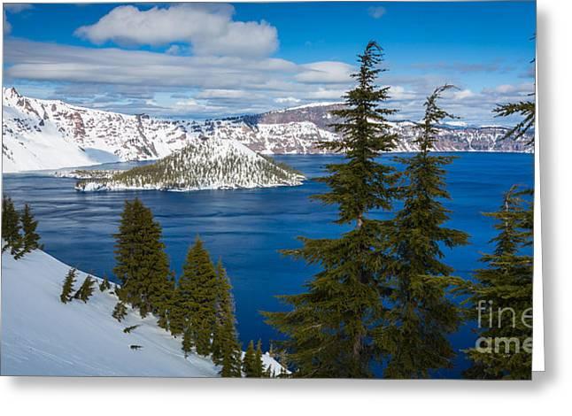 Crater Lake Winter Panorama Greeting Card by Inge Johnsson