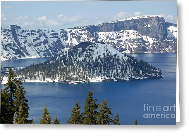 Greeting Card featuring the photograph Crater Lake With Snow by Debra Thompson