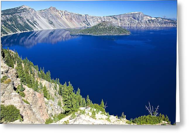 Greeting Card featuring the photograph Crater Lake Wizard Island 090910a by Todd Kreuter