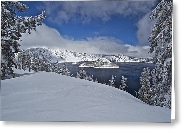 Greeting Card featuring the photograph Crater Lake/ Wizard Island by Todd Kreuter