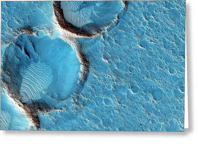 Craters On Mars Greeting Card by Nasa/jpl-caltech/univ. Of Arizona