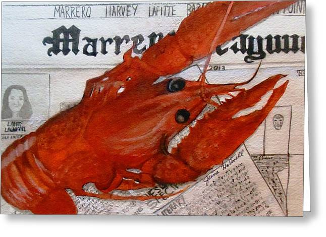 Crawdaddy Greeting Card by June Holwell