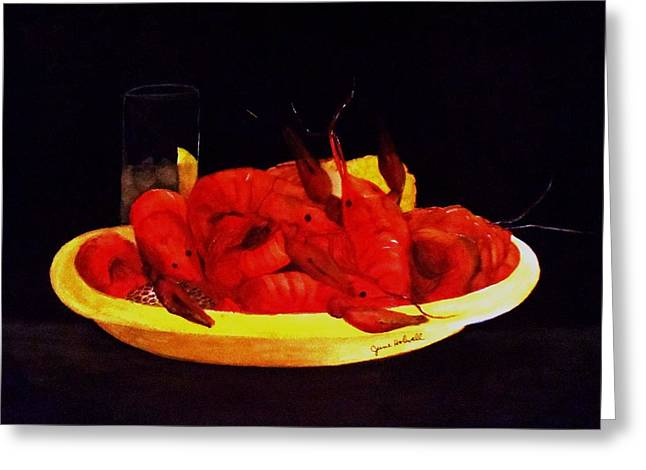 Crawfish Small Portion Greeting Card by June Holwell