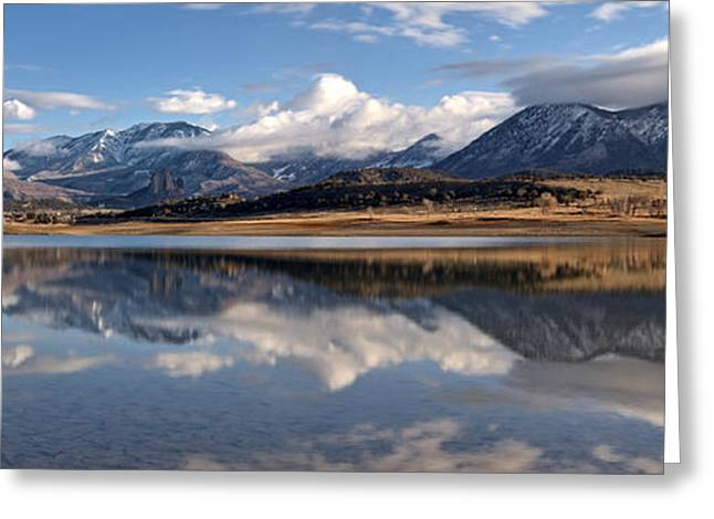 Crawford Reservoir And The West Elk Mountains Greeting Card by Eric Rundle