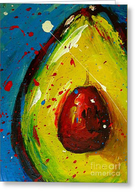 Crazy Avocado 4 - Modern Art Greeting Card by Patricia Awapara