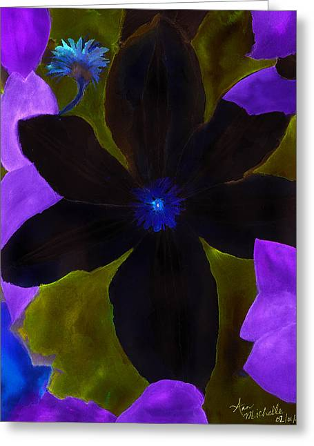 Crazy Exposure Clematis Greeting Card by Ann Michelle Swadener