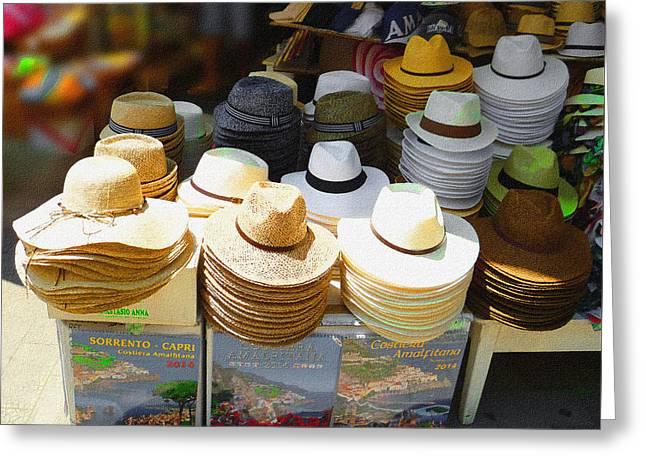 Crazy For Hats Amalfi Coast Market Italy Greeting Card by Irina Sztukowski