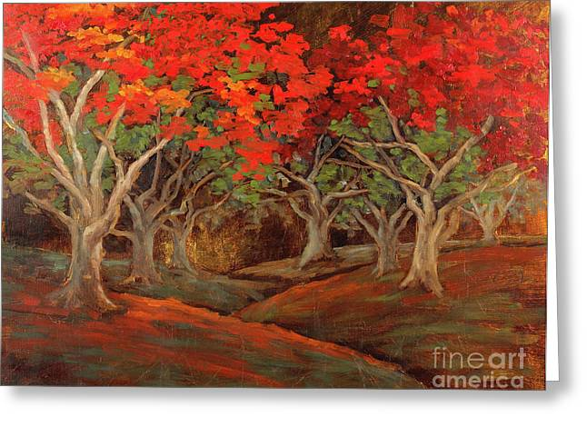 Greeting Card featuring the painting Crazy Orange Trees by Vic  Mastis