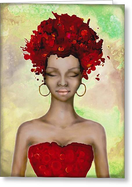 Crazy Red Hair Morning Greeting Card by Lilia D