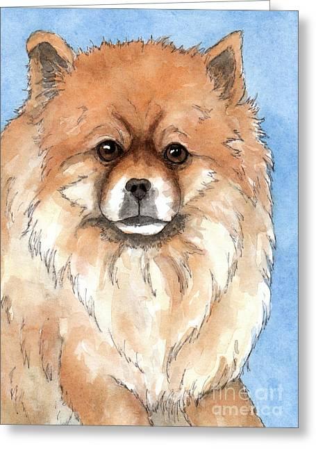 Cream Pomeranian Dog  Greeting Card by Cherilynn Wood