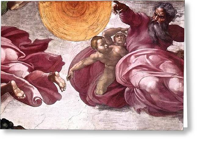 Creation Of The Sun The Moon And Plants Greeting Card by Michelangelo Buonarroti