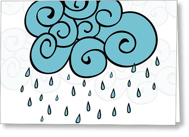 Creative Blue Cloud And Raindrops Greeting Card
