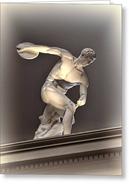 Creative Sculpture Of Olympic Athlete Greeting Card
