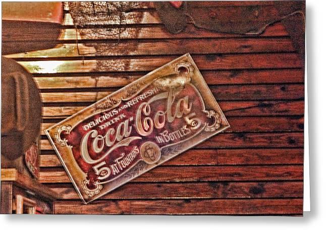 Creative Vintage Coca Cola Sign Greeting Card by Linda Phelps