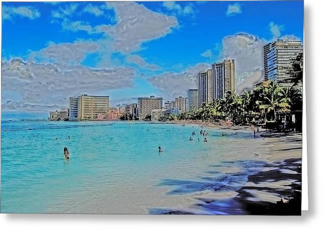 Greeting Card featuring the photograph Creative Waikiki by Caroline Stella