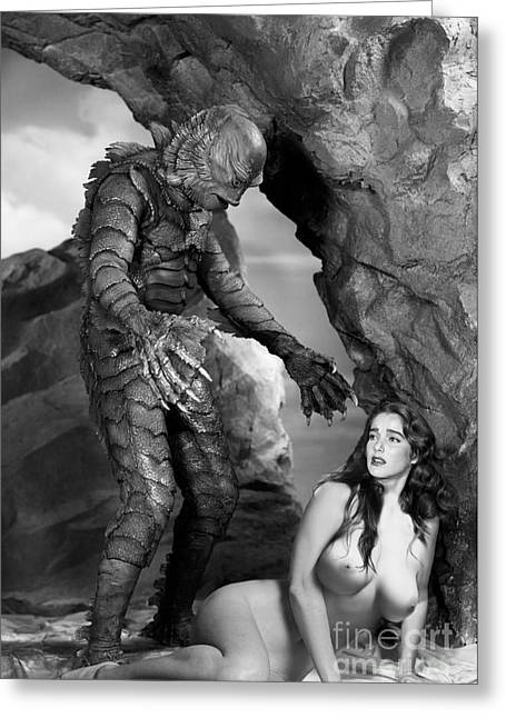 Creature From The Black Lagoon Fantasy Nude Greeting Card by Jorge Fernandez