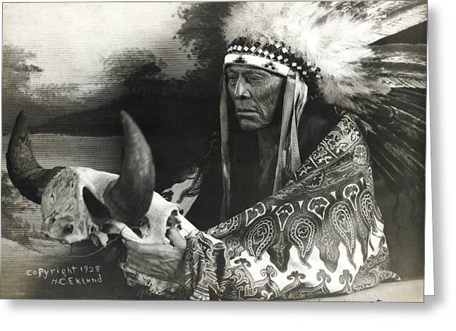 Cree Chief With Buffalo Skull Greeting Card
