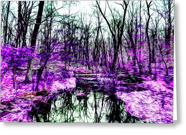 Creek By Purple Greeting Card