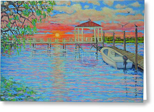 Creek Club Docks At Sunset Greeting Card by Dwain Ray