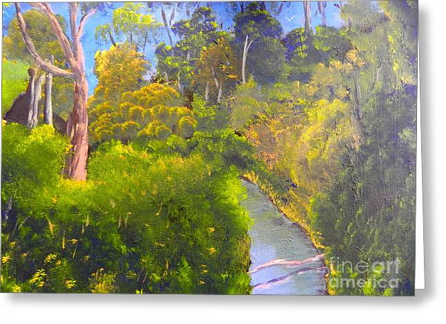 Creek In The Bush Greeting Card by Pamela  Meredith