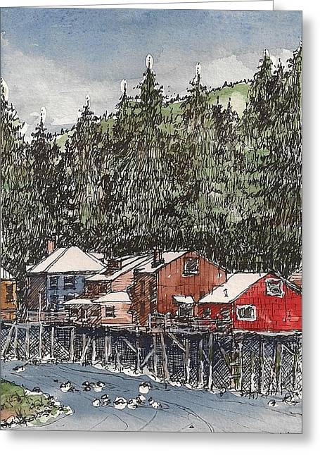 Greeting Card featuring the mixed media Creek Street In Ketchikan by Tim Oliver