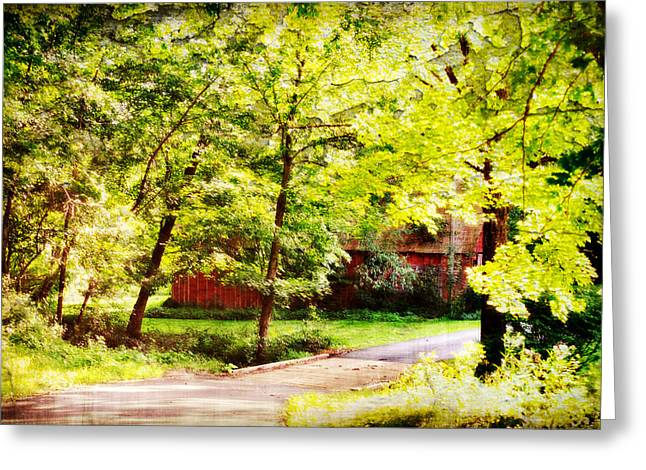 Creekside Barn Greeting Card by Chastity Hoff