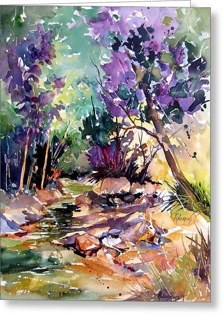 Creekside Sunglow Greeting Card by Rae Andrews
