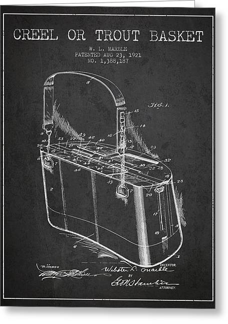 Creel Or Trout Basket Patent From 1921 - Charcoal Greeting Card by Aged Pixel