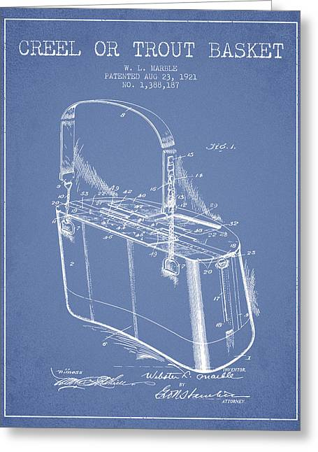 Creel Or Trout Basket Patent From 1921 - Light Blue Greeting Card by Aged Pixel