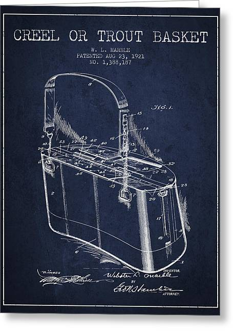Creel Or Trout Basket Patent From 1921 - Navy Blue Greeting Card