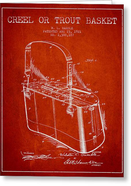 Creel Or Trout Basket Patent From 1921 - Red Greeting Card by Aged Pixel
