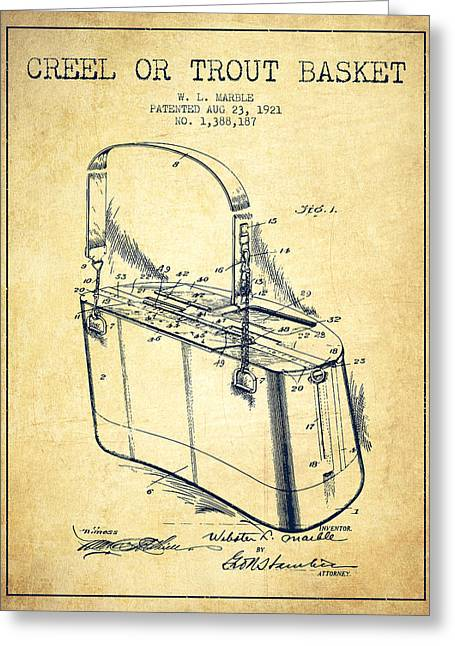 Creel Or Trout Basket Patent From 1921 - Vintage Greeting Card by Aged Pixel