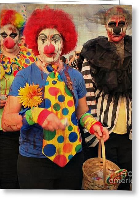 Creepy Clowns Greeting Card by Lilliana Mendez
