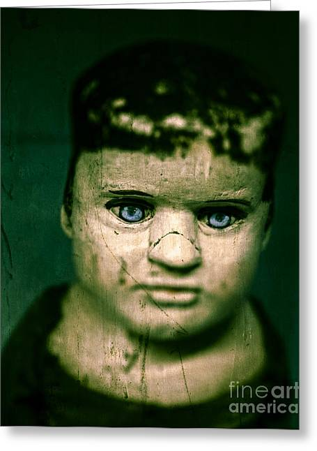 Creepy Zombie Child Greeting Card by Edward Fielding