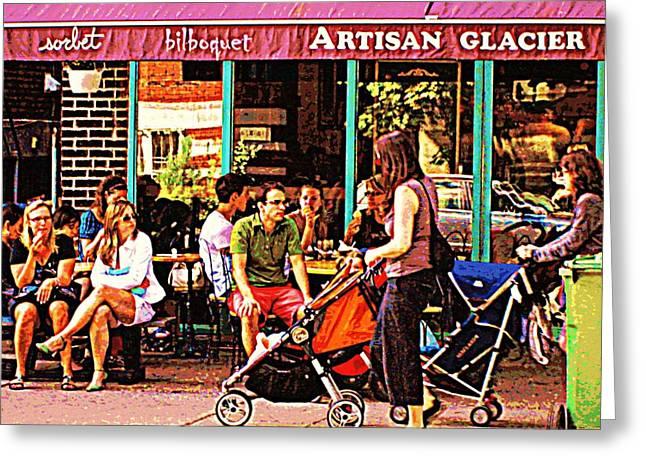 Creme Glacier Bilboquet Rue Bernard French Sidewalk Cafe Scene Montreal Art Work  Carole Spandau  Greeting Card by Carole Spandau