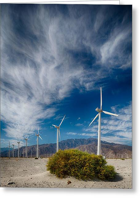 Creosote And Wind Turbines Greeting Card